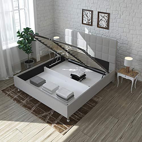 Maison Aubertin Lit Coffre Daniella Tissu Gris - 180x200 cm
