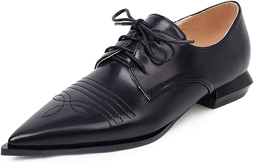 CYNLLIO Women's Year-end gift Vintage Wingtips Lace Low sold out Blo Oxfords Brogues up
