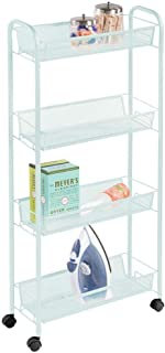 mDesign Portable Rolling Laundry Utility Cart Organizer Trolley with Easy-Glide Wheels and 4 Multipurpose Heavy-Duty Metal Mesh Basket Shelves - Narrow Shelf - Durable Steel Frame - Mint Green