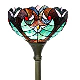 Tiffany Floor Lamp Torchiere Up Lighting W12H66 Inch Green Stained Glass Liaison Lampshade Antique Style Standing Iron Base 1E26 Foot Switch S160G WERFACTORY Living Room Bedroom Home Office Decoration