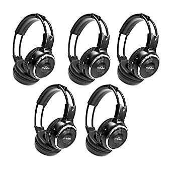 RP Accessories IR-2008B Infrared Wireless Headphones 2-Channel Folding Universal Rear Entertainment System IR Headphone for Car TV and DVD Player Audio Set of 5