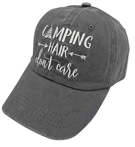 Camping Hair Don't Care Vintage Jeans Baseball Cap