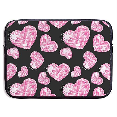 Romantische Roze Hart Stenen Op Zwarte Achtergrond Mooie 15 Inch Laptop Sleeve Tas Draagbare Rits Laptop Tas Tablet Tas