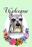 Best of Breed Schnauzer Grey Cropped Welcome Flowers Garden Flags
