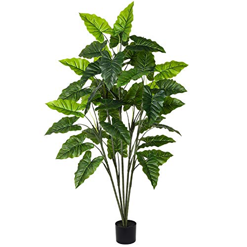 Artiflr 5.3Ft Artificial Taro Plant Fake Tropical Palm Tree, Perfect Tropical Realistic Faux Plant Tree Plant for Home Garden Store Office Decoration