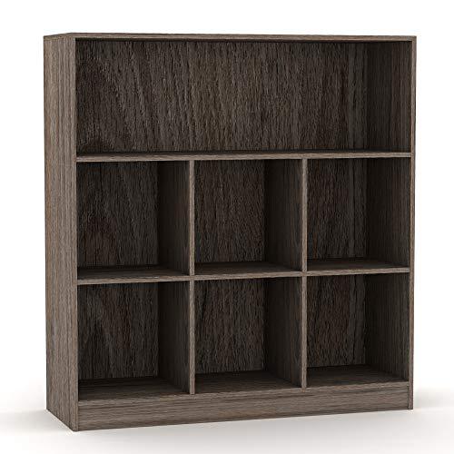 URBNLIVING Wide Wooden 7 Cube Bookcase Storage Unit (Anthracite Oak, Wide)