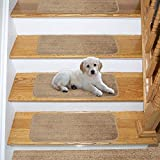 Ottomanson Comfort Soft Shag Carpet Stair Treads, 14-Pack, Camel, 14 Count
