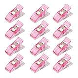 Lot de 50Pcs Clips Pinces en Plastique pour Reliure Couture Artisanat Rose et...