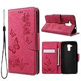 jbTec Handy Hülle Hülle Schmetterlinge passend für Huawei Honor 5C - Schutz Tasche Smartphone Flip Cover Phone Bag Klapp, Farbe:Deep Pink