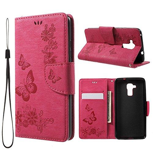 jbTec Handy Hülle Hülle Schmetterlinge passend für Huawei Honor 5C - Handyhülle Schutzhülle Phone Cover Tasche Handytasche Zubehör Smartphone Flip, Farbe:Deep Pink
