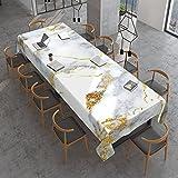 Mantel rectangular de mármol dorado italiano, impermeable, a prueba de aceite, a prueba de derrames, mantel de mesa para mesa de comedor, buffet, fiestas, camping