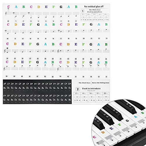 IGRMVIN Klavieraufkleber 37/49/54/61/88 Tasten Klavier Keyboard Aufkleber Transparent Klavier Lernen Aufkleber Abnehmbar Keyboard Noten Klaviertasten Aufkleber Qmg für Klavier Tasten Kinder