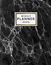 Weekly Planner 2020: Pretty Weekly & Daily 2020 Organizer, Schedule Agenda & Diary | Nifty Inspirational Quotes & Funny Holidays, To-Do's, Vision Boards & Notes | Beautiful Black Marble