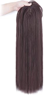 Thick Density Snythetic Hair Crown Piece Clip in Topper with Fringe for Full Head Wear Straight Dark Brown