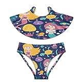 Traje de baño para niñas traje de baño de 2 piezas Bikini trajes de baño de sirenas lindas peces de algas marinas - - X-Large