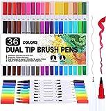 GOLD LEAF Coloring Art Markers Set, 36 Colors Dual Tips Fine Point Water Based Marker Fineliner Pens, 0.4mm fine tip and 1-6mm Brush tip
