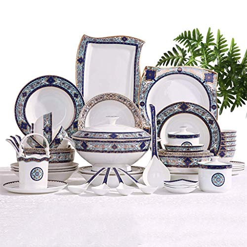 YANJ Juego de vajilla de cerámica con 55 Piezas, Cuenco/Plato/Olla de Sopa/Cuchara   Juegos de vajilla de Porcelana de Hueso, Juego de Platos Combinados de Porcelana con diseño de jardín Azul