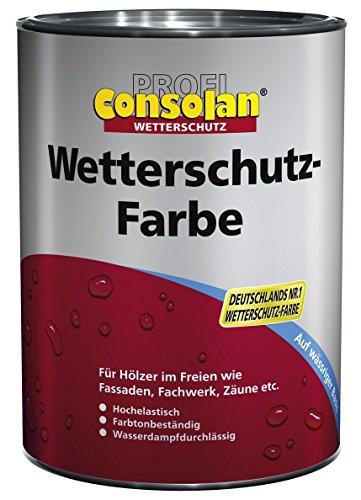 Consolan Profi Wetterschutzfarbe Holzschutz außen 0,75 Liter, Weiss