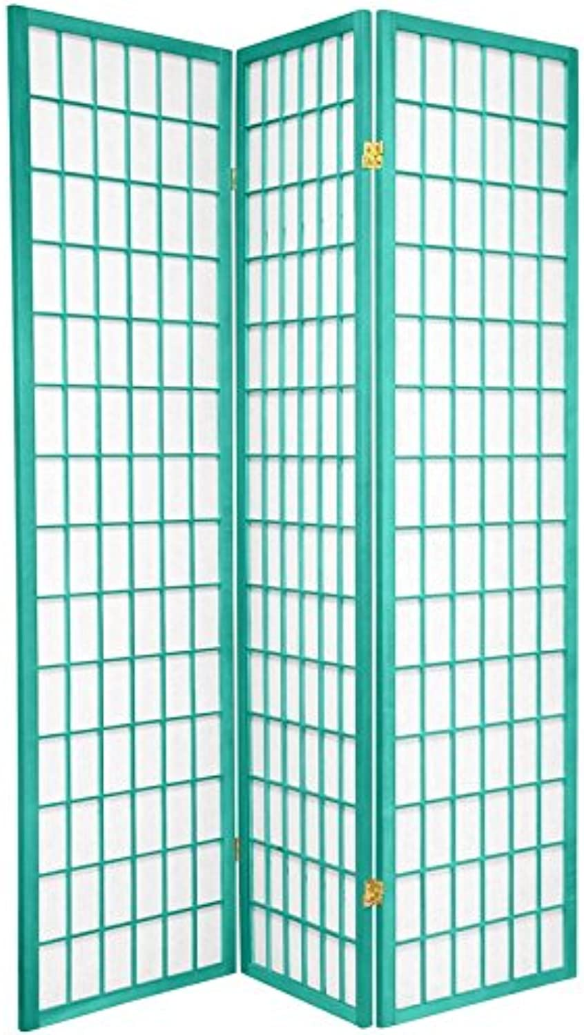Oriental Furniture 6-Feet Window Pane Japanese Shoji Folding Privacy Screen Room Divider, 3 Panel Turquoise