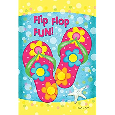 Toland Home Garden Flip Flop Fun 28 x 40 Inch Decorative Colorful Summer Sandal Starfish Flower Bubble House Flag