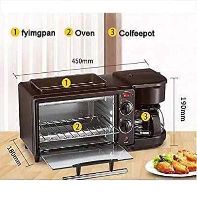 3-in-1 Electric Mini Oven with Non-Stick Frying Pan and Coffee Maker 360 Degree Heating Design Food is evenly Heated The Oven is preheated in a Few Minutes