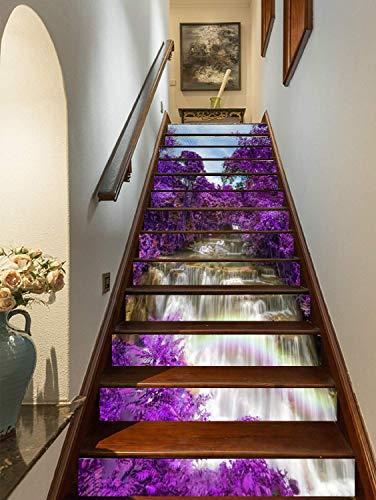 FLFK 3D Cascade fleur violette arbres Autocollants d'escalier auto-adhésifs Escalier Riser Stickers Décor Escalier Murale 39.3'x 7' x 13 Pcs