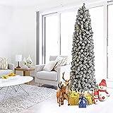 Árbol de Navidad Artificial con bisagras de Pino Alto y Delgado con bisagras, árbol de Navidad Artificial con Nieve Antes de la Cama, árbol de Navidad con lápiz Silm de 7.5 pies con Luces LE