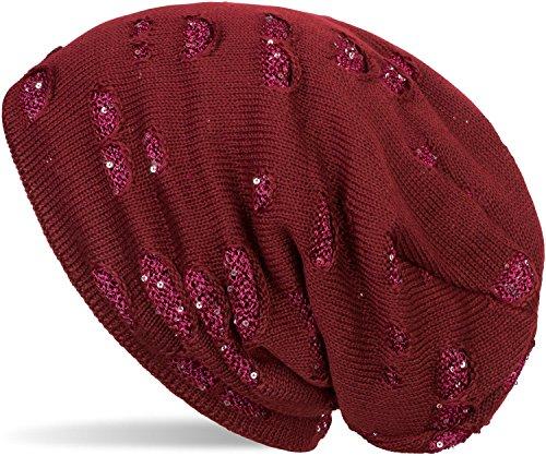 styleBREAKER warme Feinstrick Beanie Mütze im Destroyed Pailletten Look und weichem Fleece Innenfutter, Slouch Longbeanie, Damen 04024127, Farbe:Bordeaux-Rot