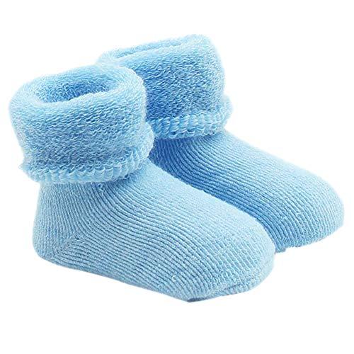 Steellwingsf Calcetines de invierno suaves para recién nacido, de 0 a 12 meses, color azul