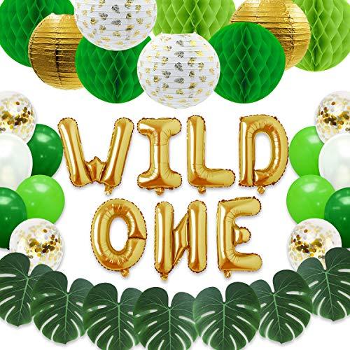 NICROLANDEE Decoración de fiesta de primer cumpleaños con temática de la selva, diseño de globo con forma de bosque salvaje, bola de panal y hojas de palma artificiales