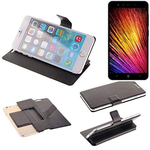 K-S-Trade Handy Schutz Hülle Für Leagoo Z7 Flip Cover Handy Wallet Hülle Slim Bookstyle Schwarz