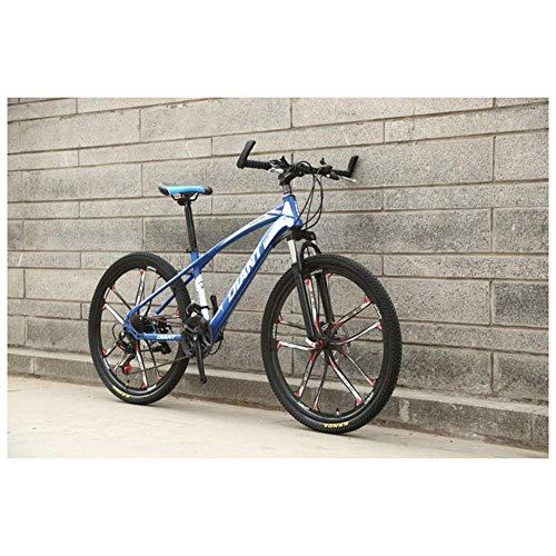 CENPEN Deportes al Aire Libre 26 '' HighCarbon Bicicleta de montaña de Acero con 17 '' de Doble Freno de Disco Frame 2130, Colores múltiples plazos de envío (Color : Blue, Size : 27 Speed)