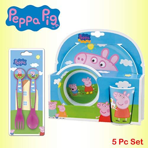 Peppa Pig - Set di 5 posate per pasti, include piatto in melamina, ciotola, tazza, cucchiaio e forchetta Combo Set