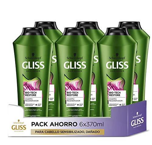 GLISS - Champú BioTech Restore - 6uds de 370ml (2.220ml) – Para cabello sensibilizado, delicado – Gama regeneradora sin siliconas