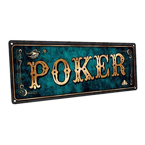 Blue Poker Hall - Targa in metallo per Mancave Den o Gameroom