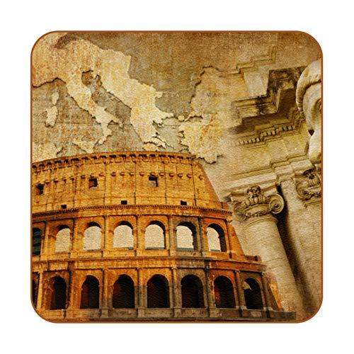 Posavasos retro de piel sintética con diseño de imperio romano para bebidas, paquete de 6 posavasos cuadrados para bebidas para el hogar o el bar, regalo de inauguración de la casa
