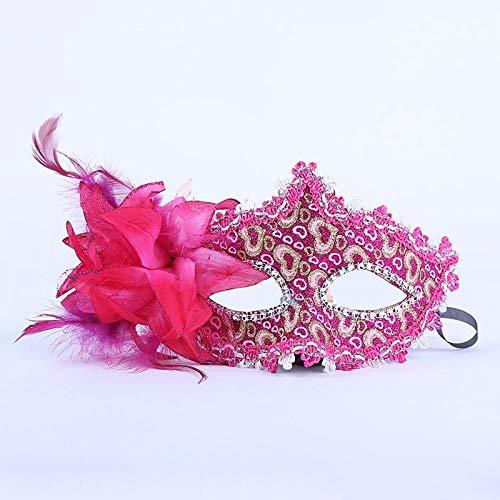 YiYuDe Masken Paintball-Schutzmasken Prinzessin Pie Flower Show Halbe Gesichtsmaske Make-Up Kinder Federball, Gold Puder Liebe Rose Rot