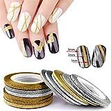 6/12/18/Set Nail Art Glitzer Striping Line Tape-Aufkleber DIY Aufkleber Maniküre Decor