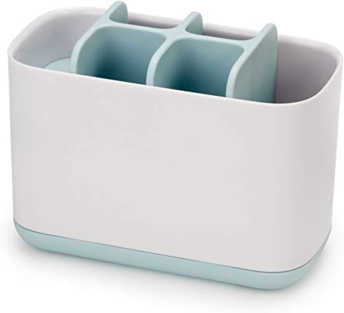 JOSEPH JOSEPH Easy-Store Toothbrush Caddy Large, White & Pale Blue, 1 Piece