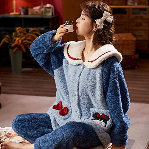 Damen Schlafanzug,Damen Winter dicken Korallen Samt Pyjamas, niedlichen Hosen Home...