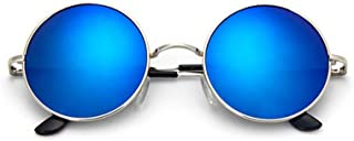 Fashion Men Small Vintage Retro Lennon Glasses Women Driving Metal Eyewear Classic Polarized Round Sunglasses Retro (Color : Blue)