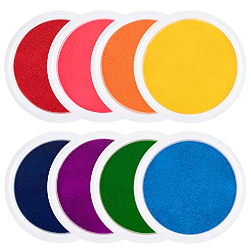 """8 Pack 7"""" Large Round Craft Ink Pad- 8 Colors Rainbow DIY Fingerprint Ink Pad Stamps Partner Washable Color Painting Card Making Stamp Pad for Kids Rubber Stamp Crafting Paper Wood Fabric Scrapbook"""