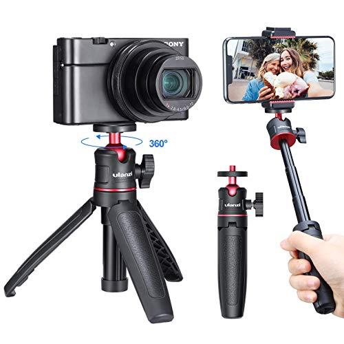ULANZIMT-08カメラ三脚スタンド3way3段伸縮ラバーグリップ自由雲台軽量vlog自撮り棒持ち運び便利携帯式撮影安定SonyA6600/A6400/A6300/A6000/RX100VII/A7III/ZV-1/FujifilmX-T100X-T200X-T4/CanonM6/G7XMarkIII/iPhone/Android適用