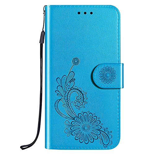 NEINEI Funda para Huawei P Smart 2021,PU Carcasa de Cuero con [Cierre Magnético][Stand][Ranura para Tarjeta],Loto de Encaje Patrón Billetera Flip Case Cover,Azul