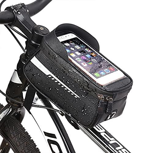 Bolsa de marco para bicicleta con soporte para teléfono móvil, bolsa impermeable para bicicleta, tubo frontal con pantalla táctil, bolsa de almacenamiento con orificio para auriculares para smartphone