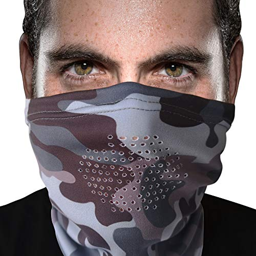 Camo Neck Gaiter with BREATHING HOLES, Spandex Poly Gaiter Neck Warmer for Men and Women, Adjustable Toggle Keeps Gaiter Up, Camouflage Neck Gaiter Women and Men (Gray Black Camo)
