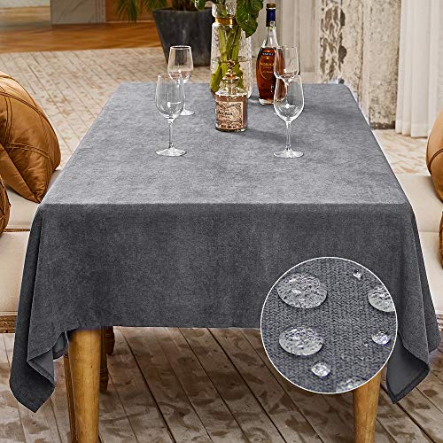 LUOLUO Mantel Rectangular Mantel Antimanchas Mantel Impermeable Mantel de Cocina para Cumpleaños Navidad (Gris Oscuro, 140x240cm)