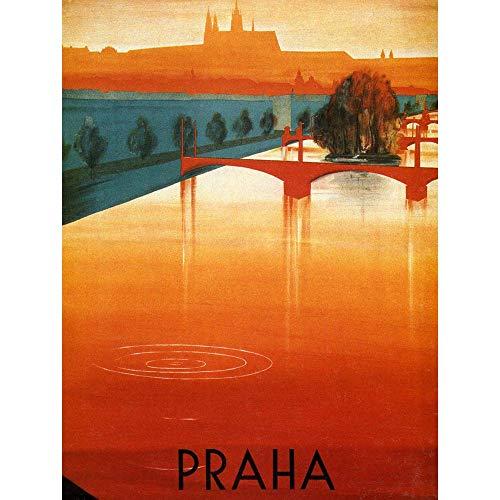 Wee Blue Coo Travel Prague Vltava River Bridge Tree City Ripple Unframed Wall Art Print Poster Home Decor Premium