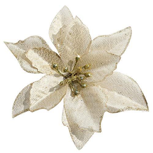 Poinsettia Christmas Decorations Glitter Poinsettia Flowers for Christmas Tree Decorations(12Pack)(Gold)