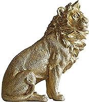 彫刻の装飾、置物シンプルなモダンクラフトバーカフェリビングルームの装飾結婚式のギフトの装飾品彫像と置物ベッドルームのリビングルームゴールデンライオン雄大なライオン動物高さ26.5cm